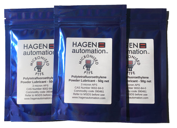 Three packs PFTE Powder lubricant 50g Hagen Automation for chain waxing Blue foil pack on white background