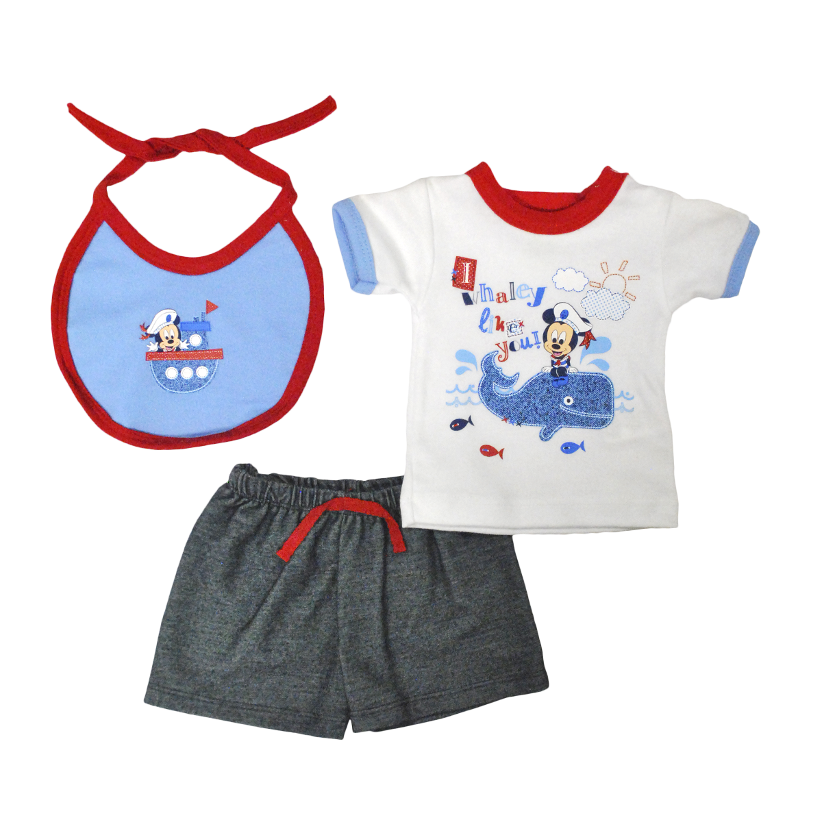 Set Bebito Playera Short y Babero Mickey