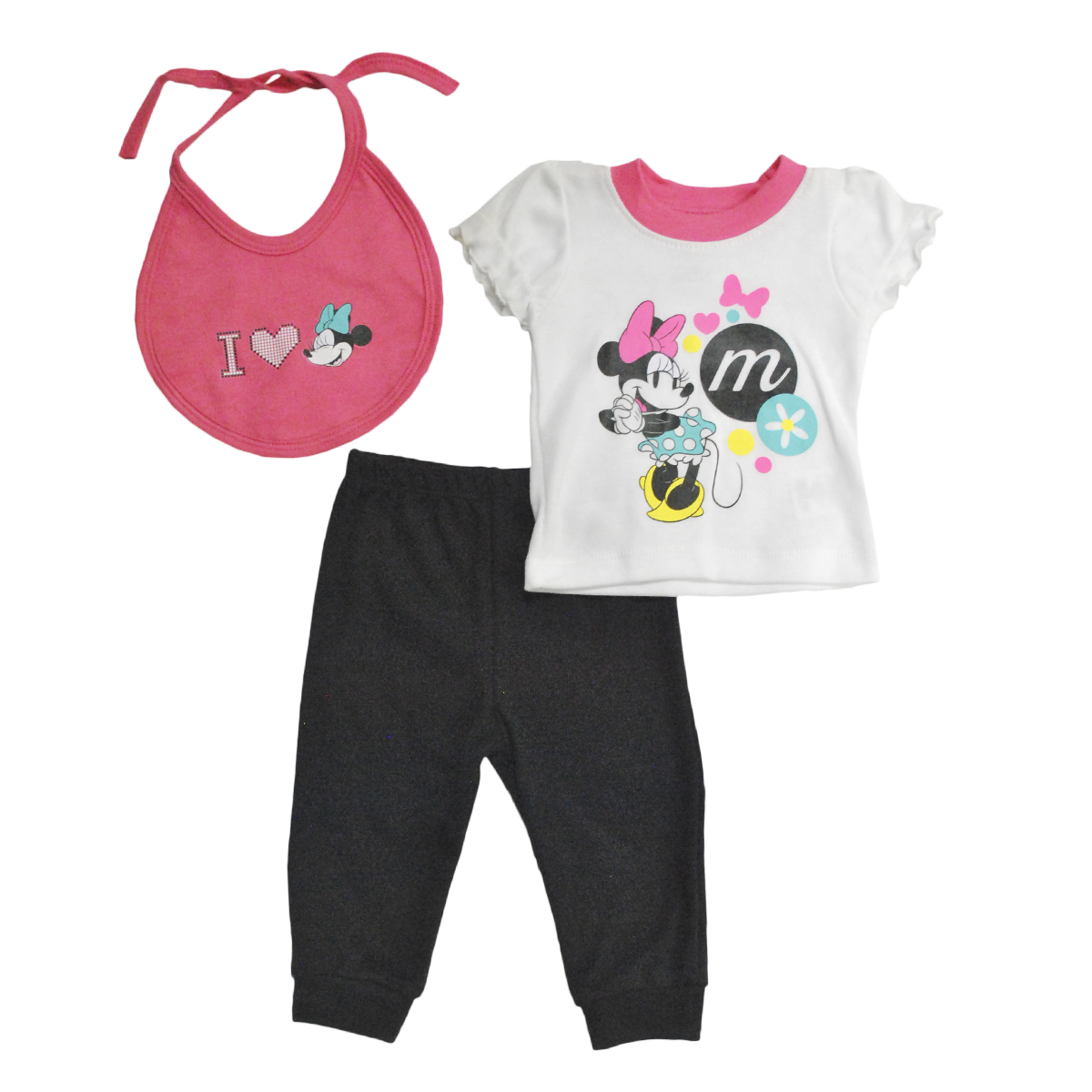Set Bebita Playera Pantalón y Babero Minnie