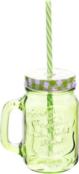 MINI MASON JAR COLOR VERDE C/TAPA Y POPOTE 1409V