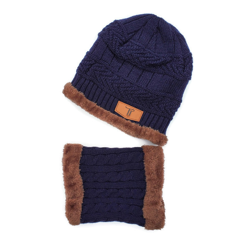 Toddler Hat & Scarf Mask Set - 2pc Navy/Brown