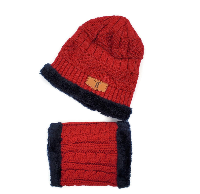 Toddler Hat & Scarf Mask Set - 2pc Winter Red/Navy - Tippy Tot Shoes