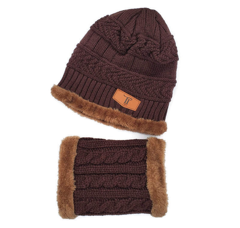 Toddler Hat & Scarf Mask Set - 2pc Deep Coffee/Brown - Tippy Tot Shoes