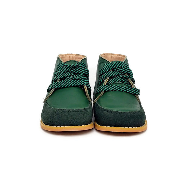Vintage + Stripe Shoelaces - Emerald Green - Tippy Tot Shoes