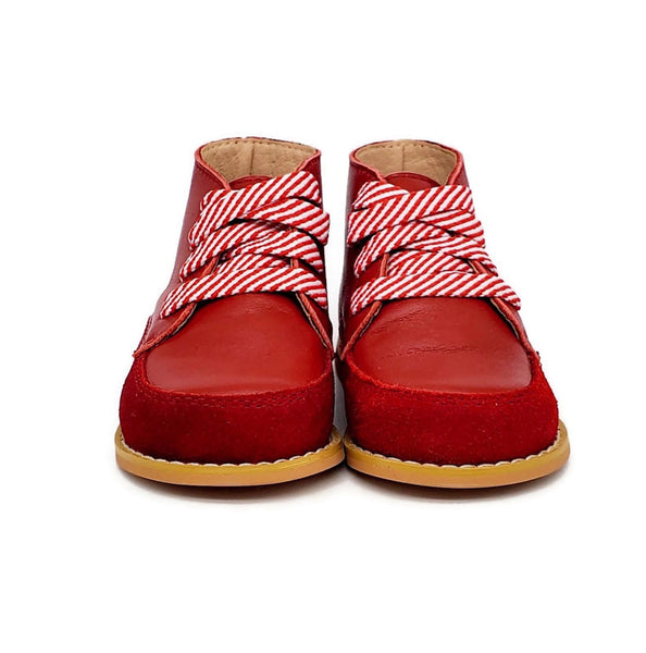 Vintage + Stripe Shoelaces - Red - Tippy Tot Shoes