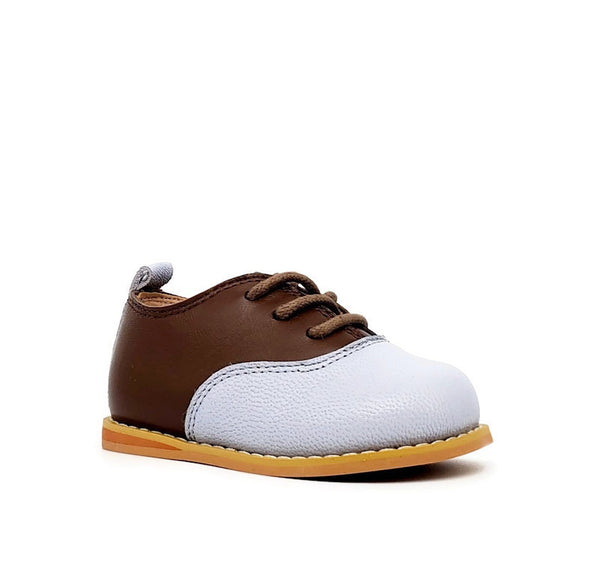 Vintage Oxford Low-Top - Coffee/Baby Blue - Tippy Tot Shoes