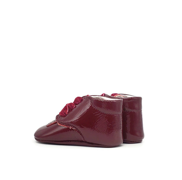 Baby Crib Shoes - Burgundy Patent + Velvet - Tippy Tot Shoes
