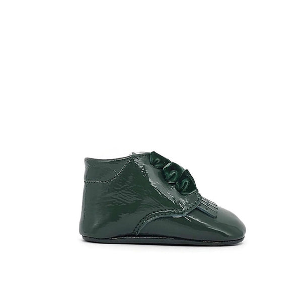 Baby Crib Shoes - Emerald Green Patent + Velvet - Tippy Tot Shoes