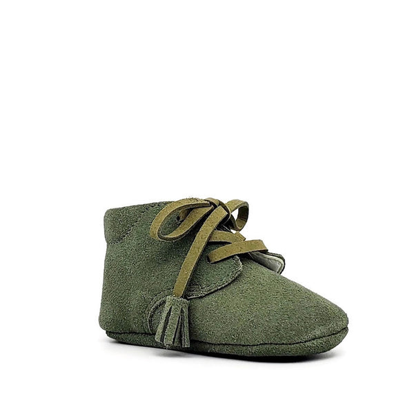 Baby Crib Shoes - Sage Suede + Tassel - Tippy Tot Shoes