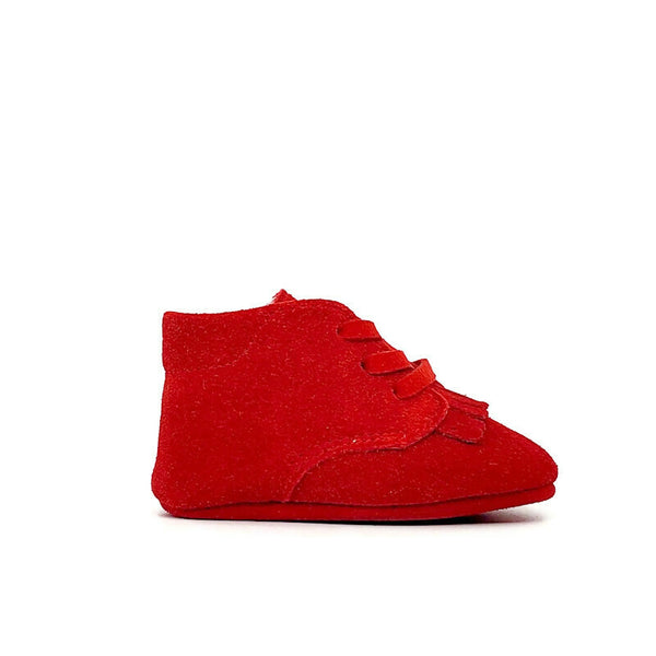 Baby Crib Shoes - Red Suede+ Fringe - Tippy Tot Shoes