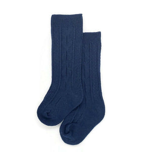 Unisex Cable Knit Socks - 1 pair Navy Blue - Tippy Tot Shoes