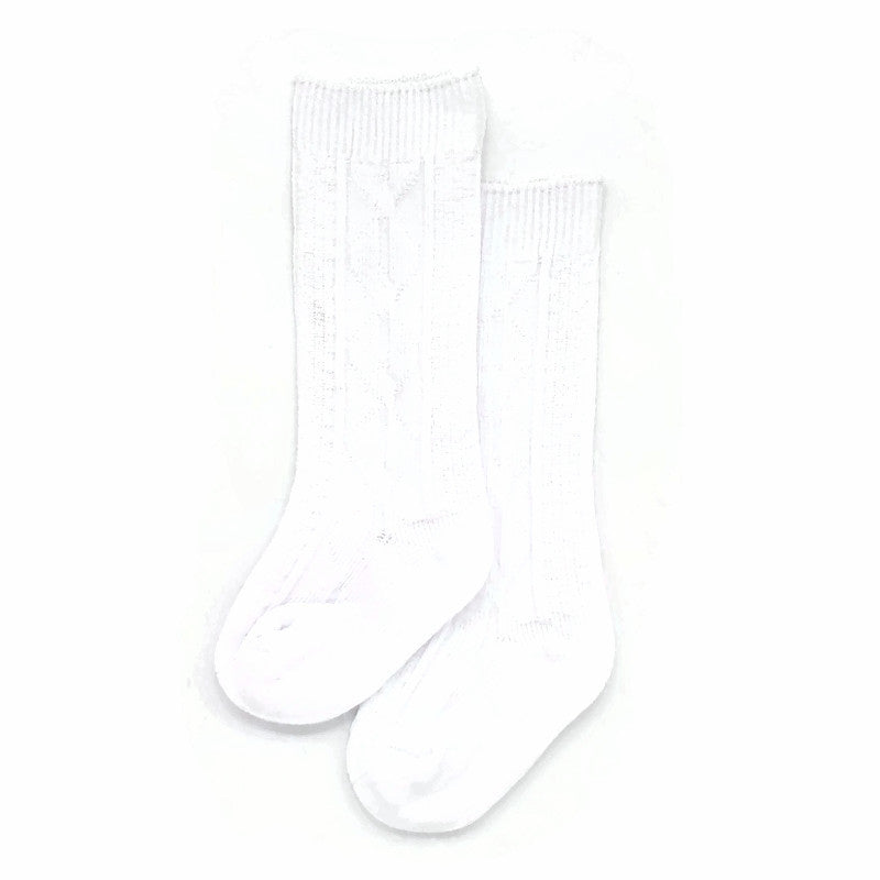 Unisex Cable Knit Socks - 1 pair White - Tippy Tot Shoes