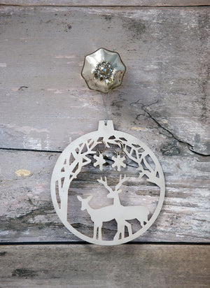 Forest Deer Bauble Christmas Decoration - The Love Trees