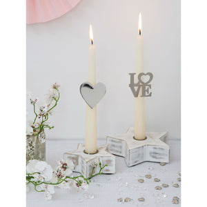 Set of 2 Romantic Pillar Candle Rings Love or Heart