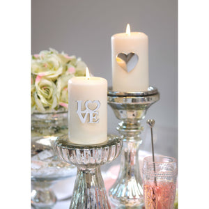 Set of 2 Romantic Pillar Candle Pins Love or Heart - The Love Trees