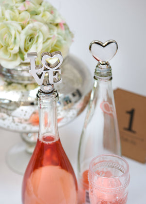 Romantic Silver Heart Bottle Stopper