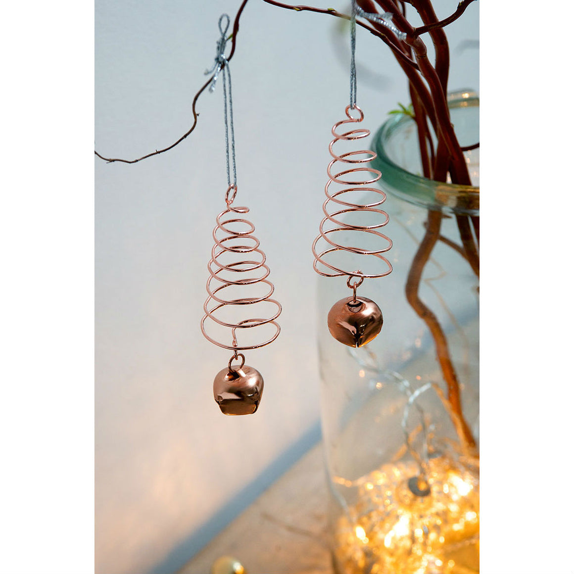 Set of 2 Rose Gold Spiral Trees & Bell Christmas Decoration