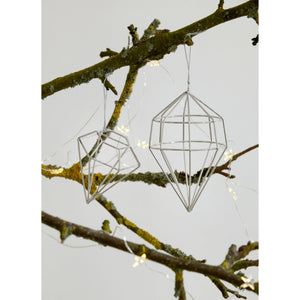 Set of 2 Silver Geometric Christmas Decorations - The Love Trees