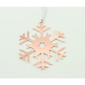 Set Of 4 Rose Gold Snowflake Christmas Decoration