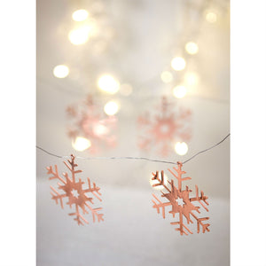 Set Of 4 Rose Gold Snowflake Christmas Decoration - The Love Trees