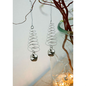Set of 2 Silver Spiral Trees & Bell Christmas Decoration