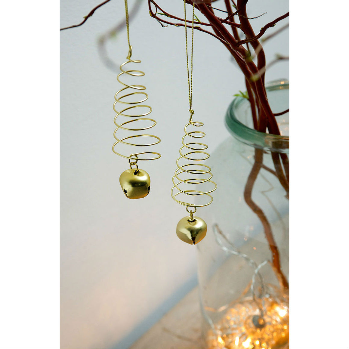 Set of 2 Gold Spiral Trees & Bell Christmas Decoration