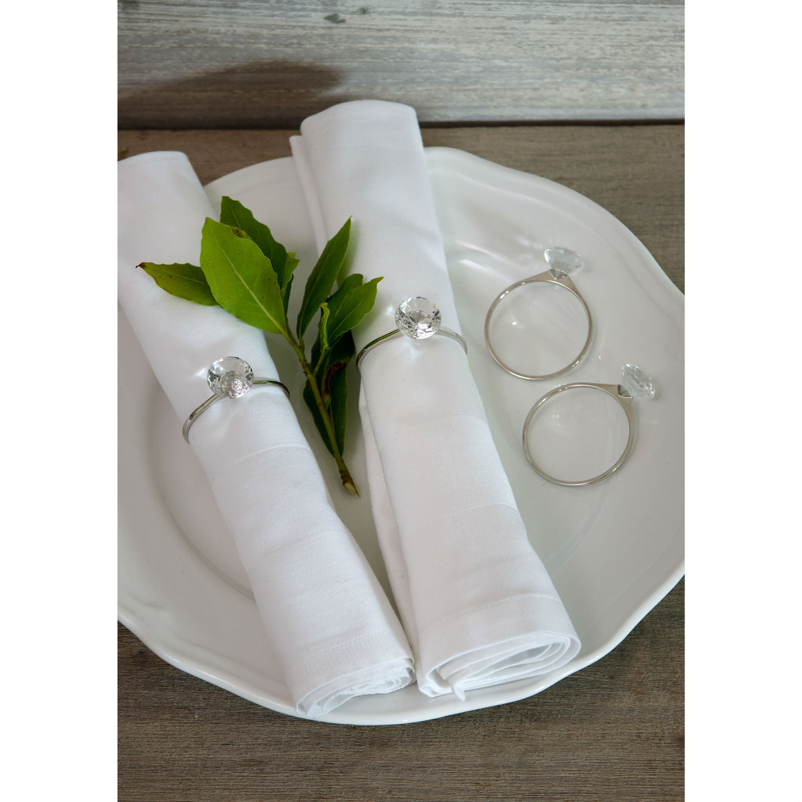 Set Of 4 Diamond Napkin Rings
