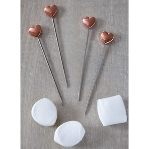 Set Of 4 Rose Gold Heart Party Food Picks