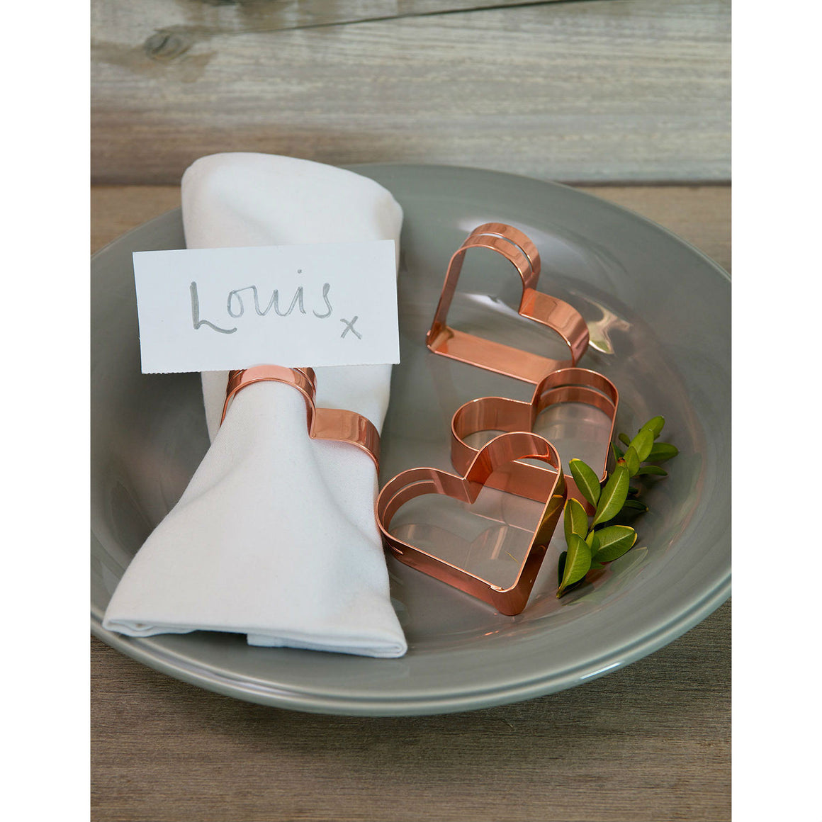 Set Of 4 Rose Gold Heart Place Card Napkin Rings