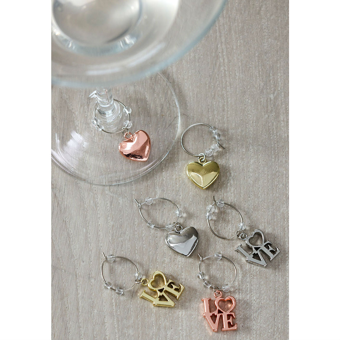 Set of 6 Romantic Wine Charms