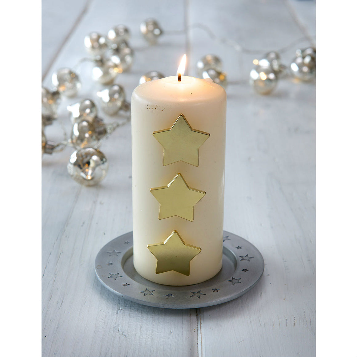 Set Of 3 Matt Gold Star Candle Pins - The Love Trees