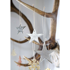 Set Of 3 Silver Cast Stars - The Love Trees