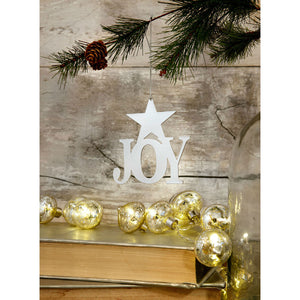Silver 'Joy' Christmas Tree Decoration