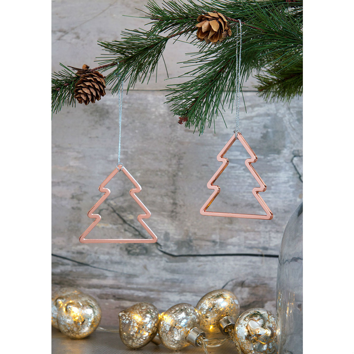Set Of 2 Rose Gold Christmas Tree Decoration