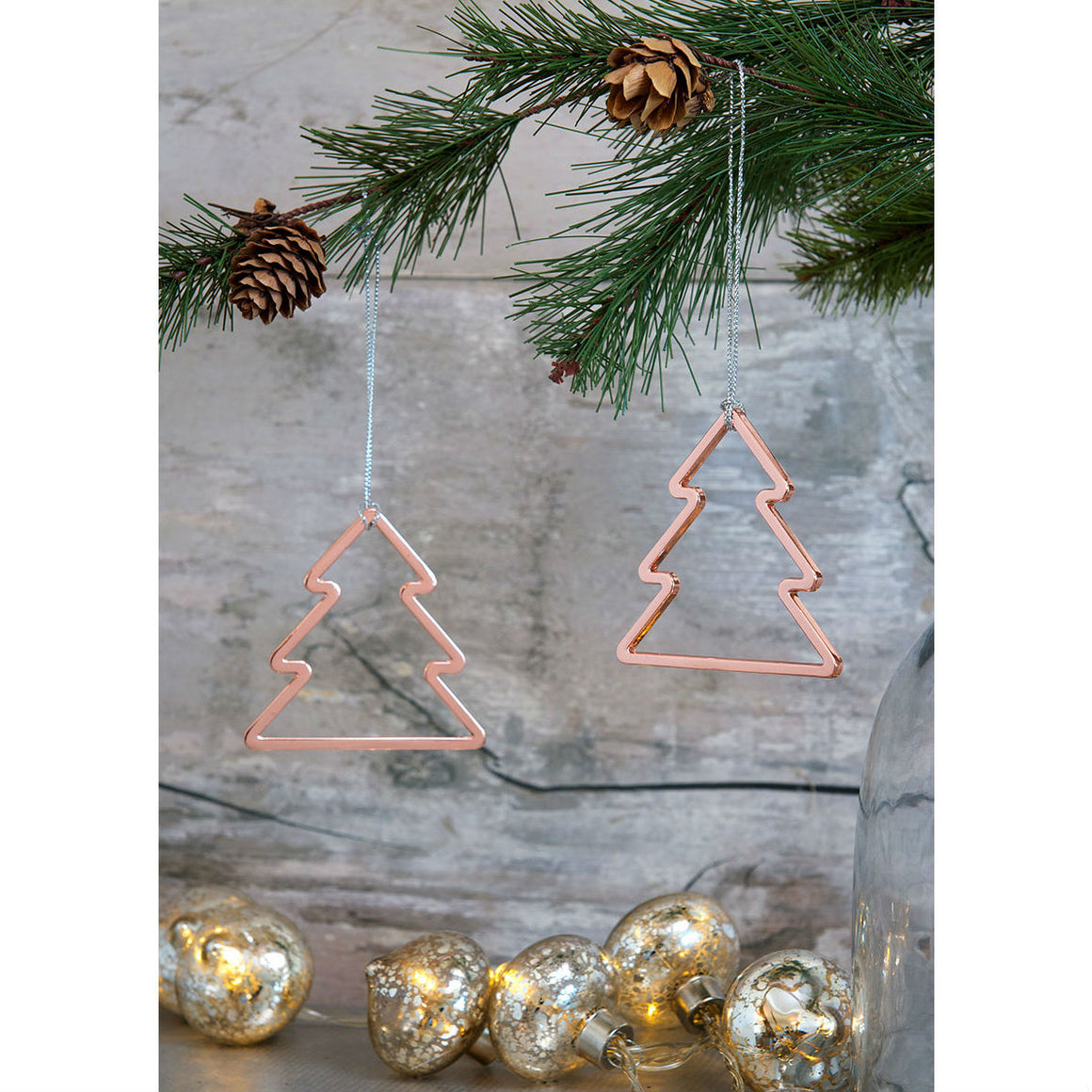 Set Of 2 Rose Gold Christmas Tree Decoration - The Love Trees