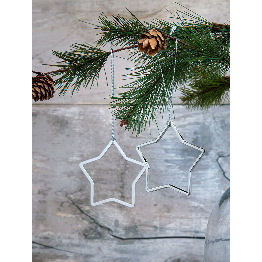 Set Of 2 Silver Star Christmas Tree Decoration