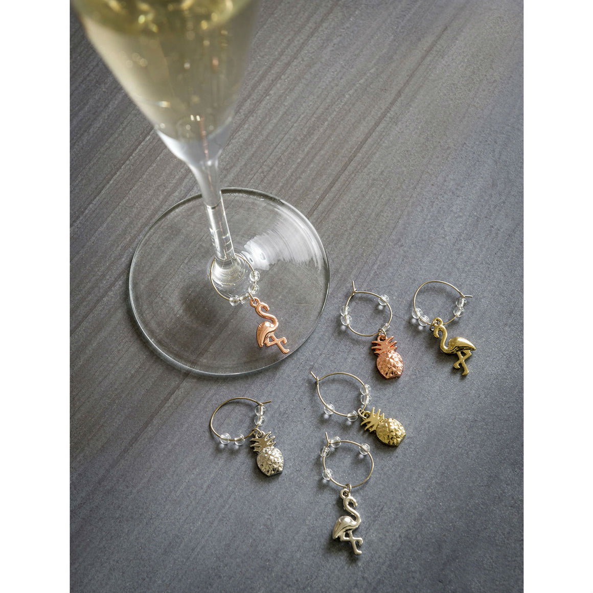 Set of 6 Tropical Wine Charms