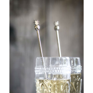 Set Of 4 Silver Pineapple Cocktail Stirrers