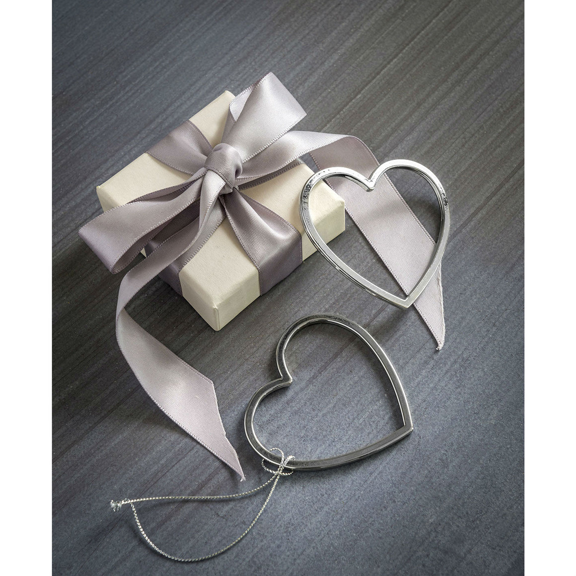 Set Of 2 Silver Cut Out Heart Decorations