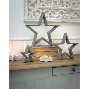 Set Of 3 Grey Mantelpiece Stars - The Love Trees
