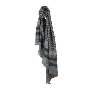 Grey & Navy Blue Wrap Round Scarf - The Love Trees