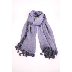 Textured Navy Blue Scarf With Tassels