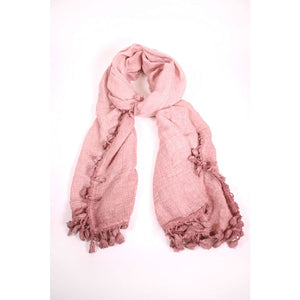 Textured Pink Scarf With Tassels - The Love Trees