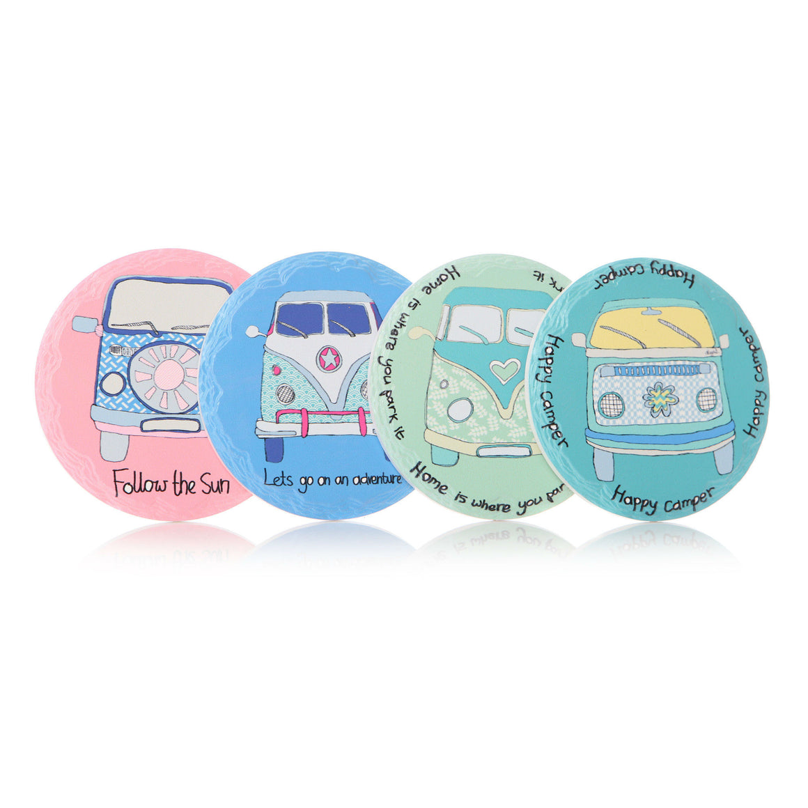 Set of 4 Round Happy Camper Coasters - The Love Trees