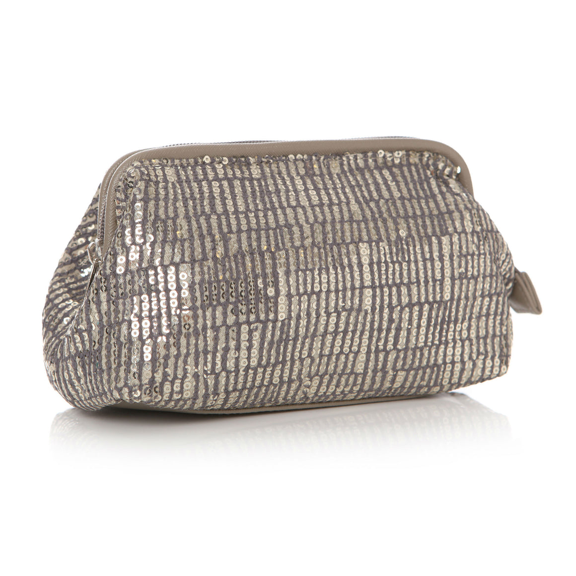 Sequin Grey Cosmetic Pouch 17x8