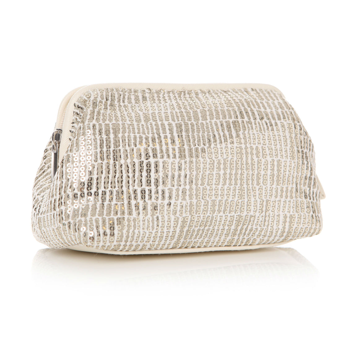 Sequin Cream Cosmetic Pouch 17x8