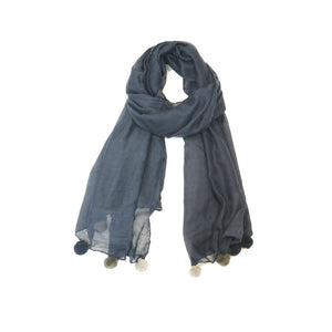 Navy Blue Scarf With Pom Poms - The Love Trees