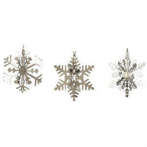 Set Of 4 3D Snowflake Christmas Decorations