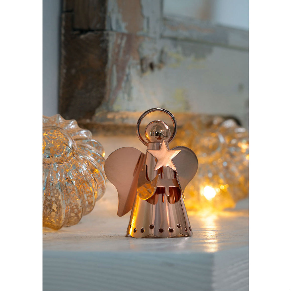 Rose Gold Angel Christmas Decoration
