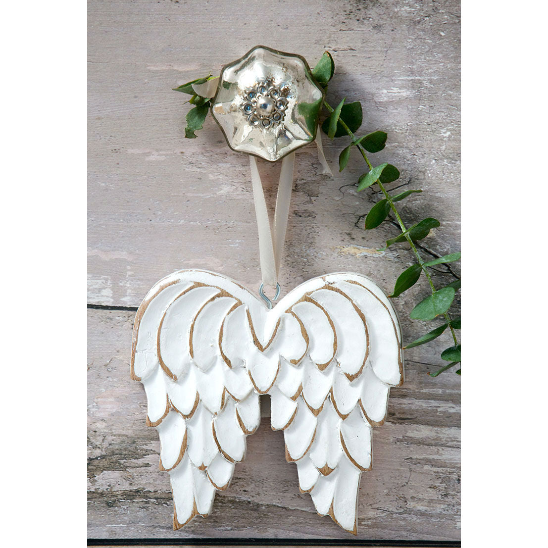 White Wooden Angel Wings Decoration
